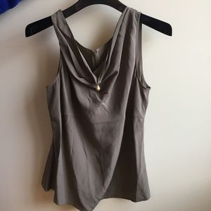 St. John Brown Silk Draped Tank with Gold Pendant